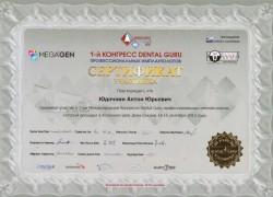 Сертификат DENTAL GURU. Юдочкин А.Ю.